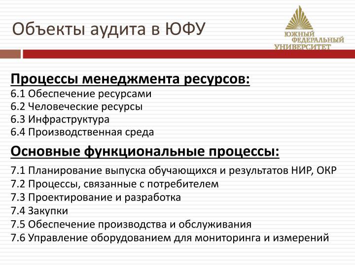 Объекты аудита в ЮФУ
