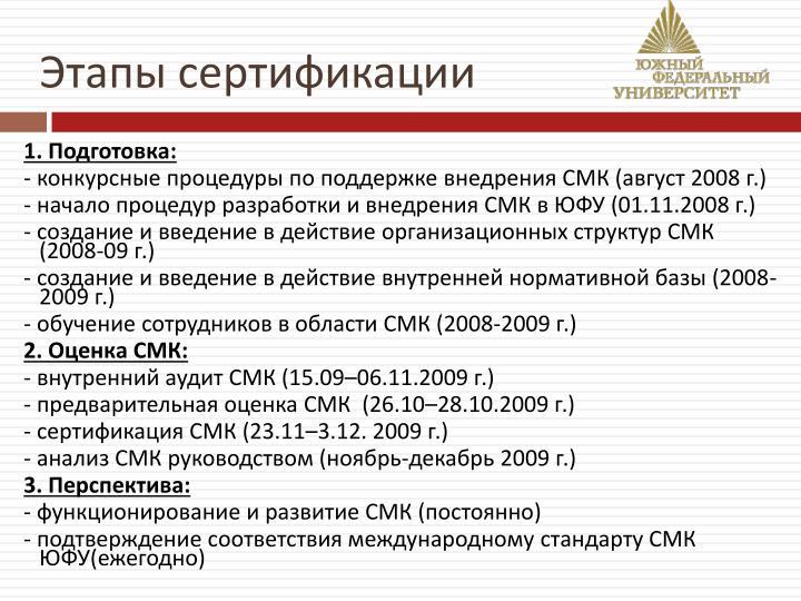 Этапы сертификации