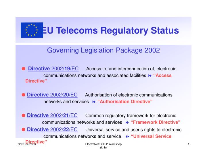 EU Telecoms Regulatory Status