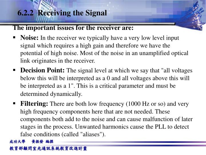 6.2.2  Receiving the Signal