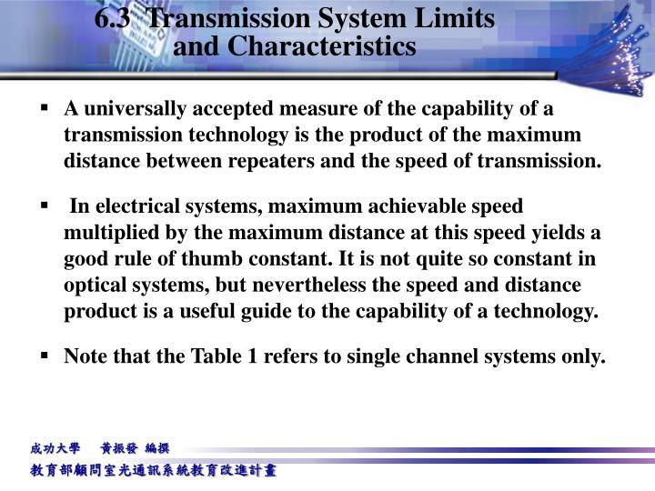 6.3  Transmission System Limits