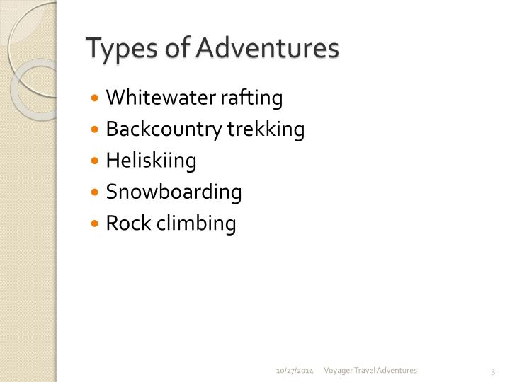 Types of adventures