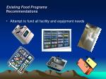 existing food programs recommendations