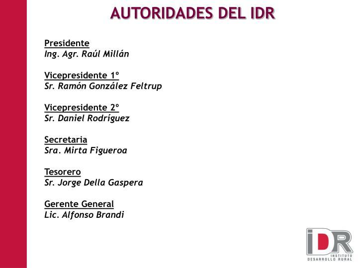 AUTORIDADES DEL IDR