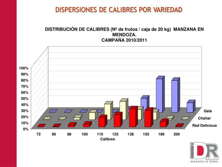DISPERSIONES DE CALIBRES POR VARIEDAD