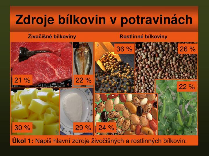 Zdroje bílkovin v potravinách