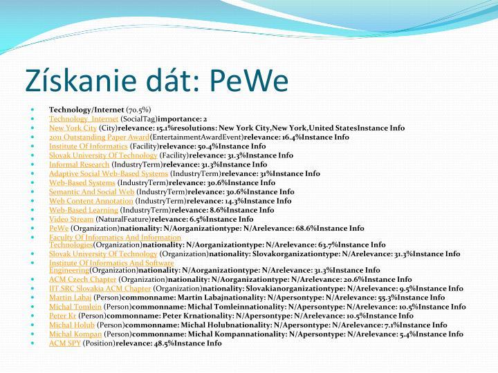 Získanie dát: PeWe