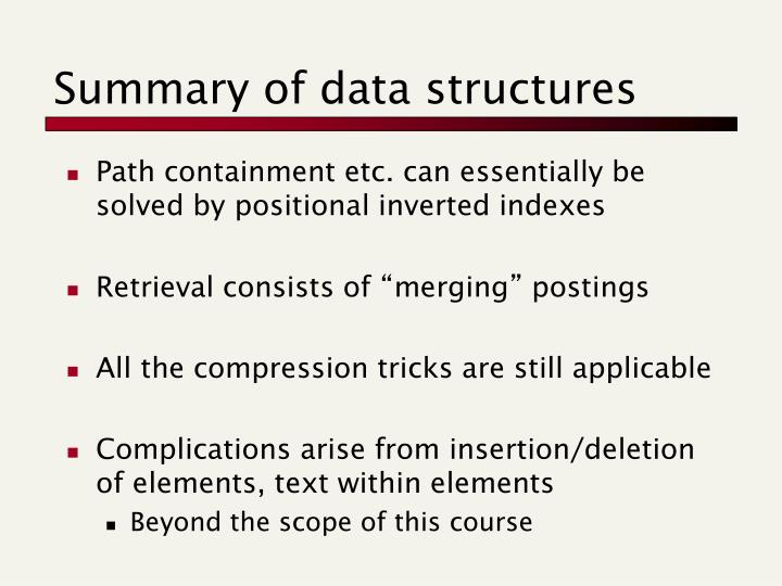Summary of data structures