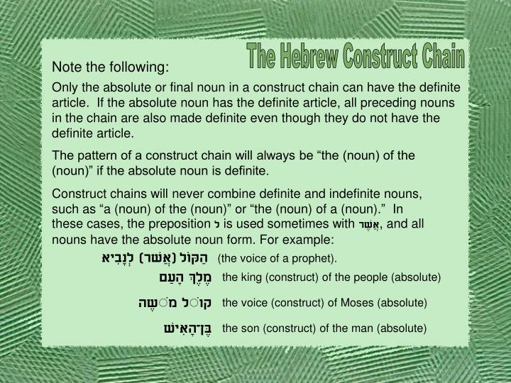 The Hebrew Construct Chain