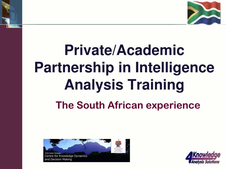 Private academic partnership in intelligence analysis training