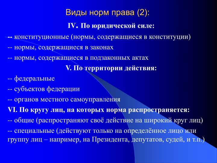 Виды норм права (2):