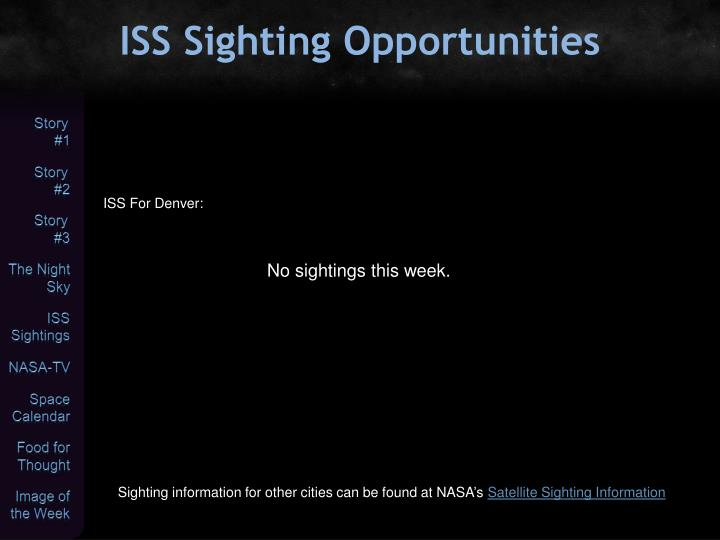ISS Sighting Opportunities