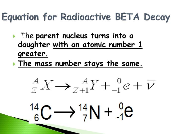 Equation for Radioactive BETA Decay