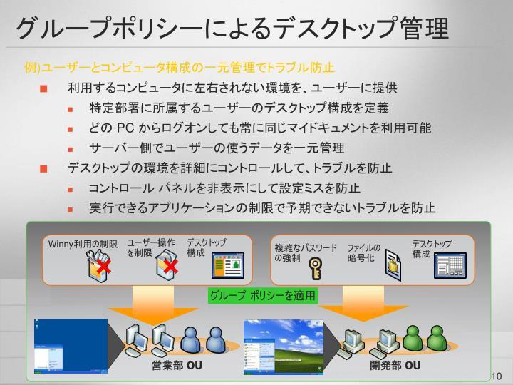 グループポリシーによるデスクトップ管理