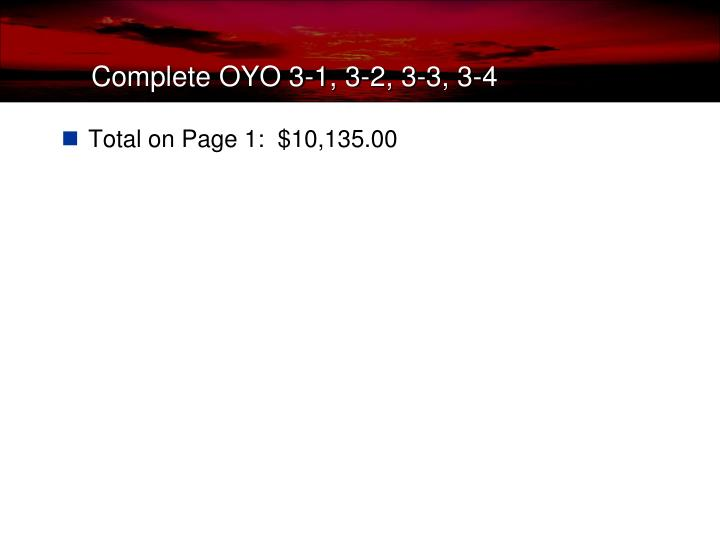 Total on Page 1:  $10,135.00
