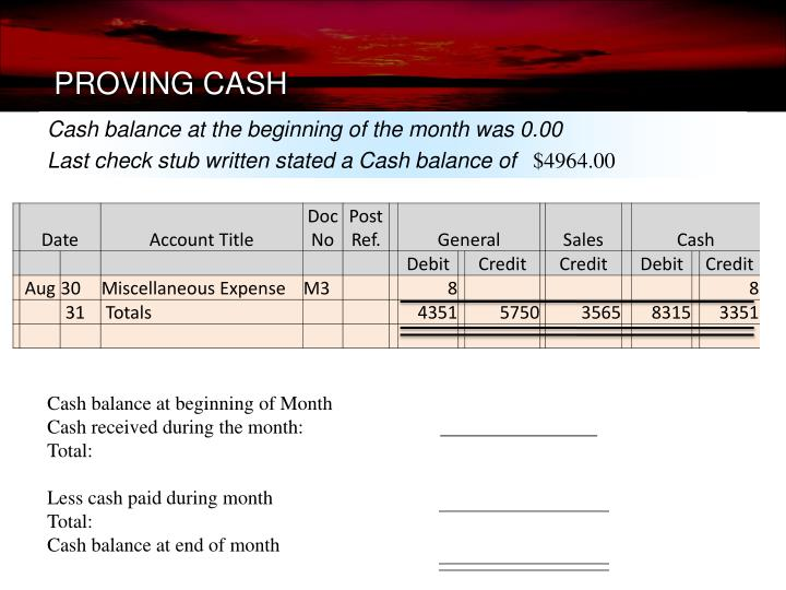 PROVING CASH