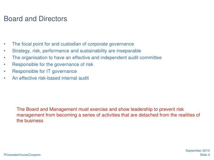 Board and Directors