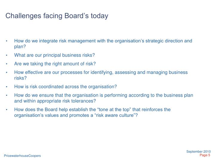 Challenges facing Board's today