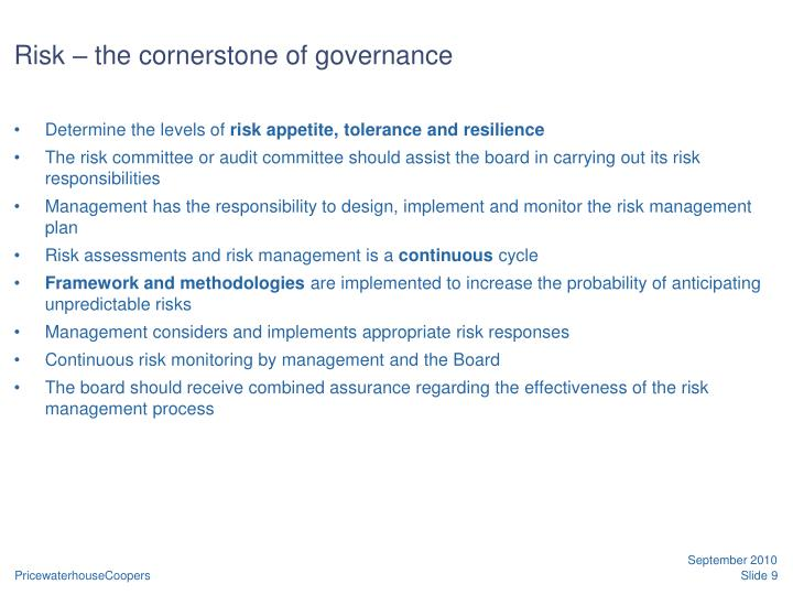 Risk – the cornerstone of governance