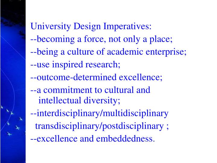 University Design Imperatives: