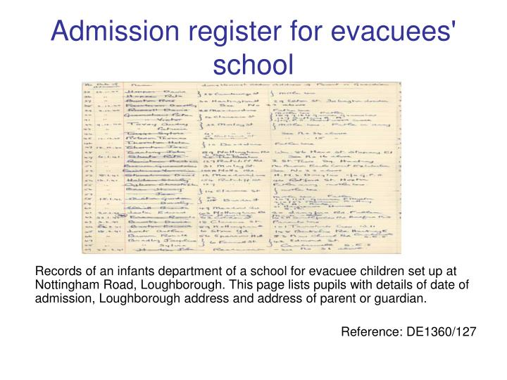 Admission register for evacuees' school
