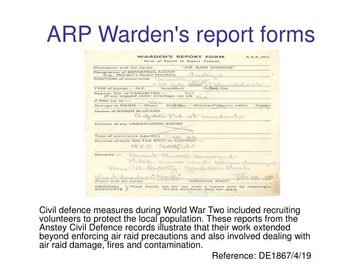 ARP Warden's report forms