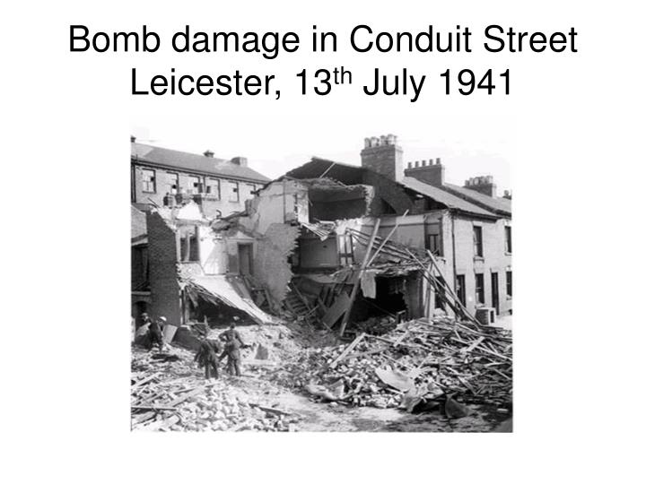 Bomb damage in Conduit Street Leicester, 13