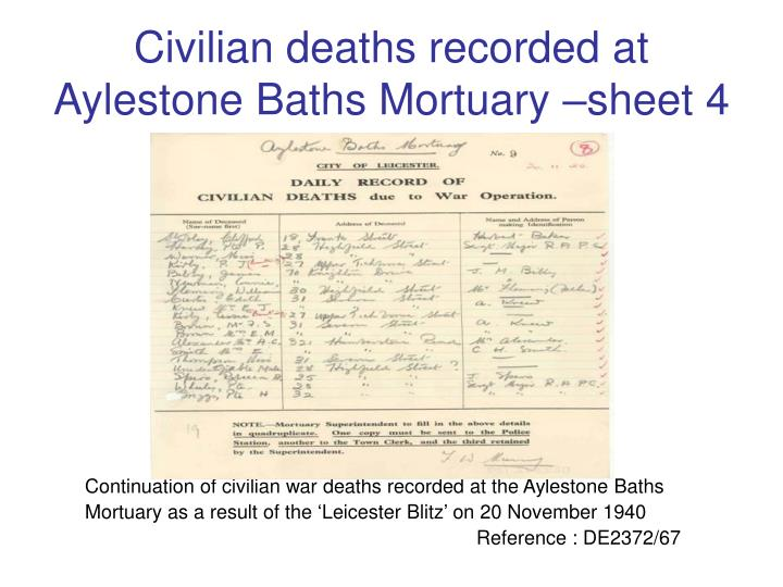Civilian deaths recorded at Aylestone Baths Mortuary