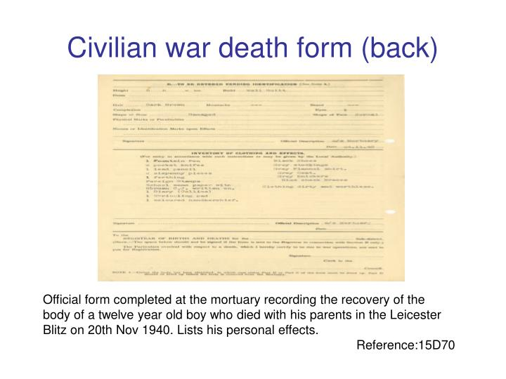 Civilian war death form (back)