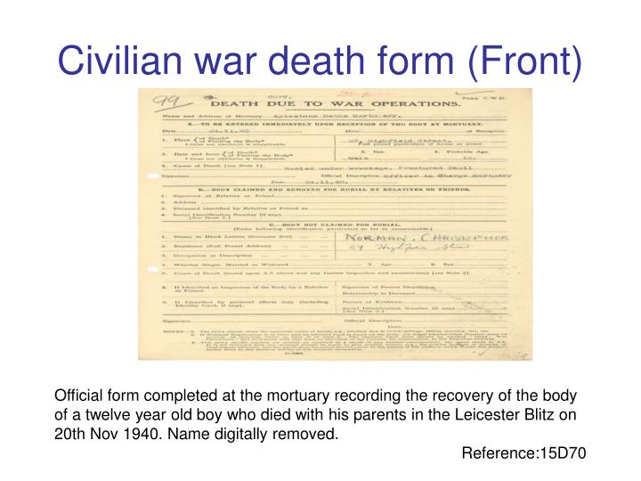 Civilian war death form (Front)