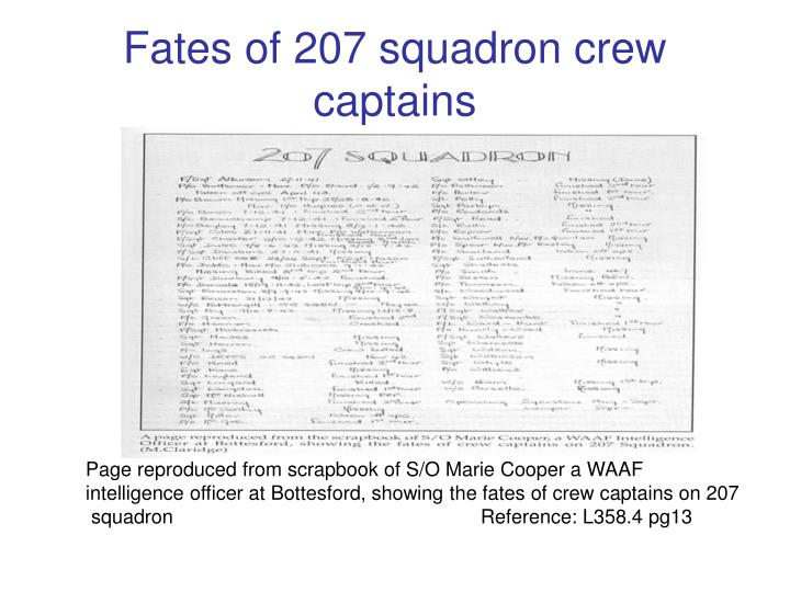 Fates of 207 squadron crew captains