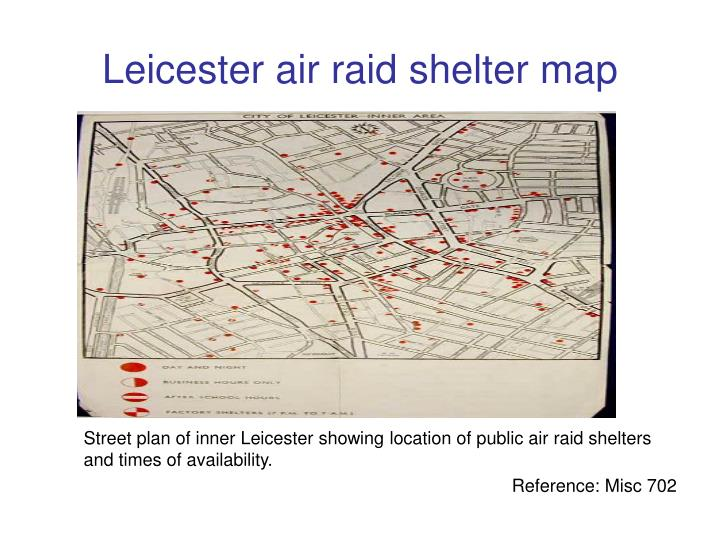 Leicester air raid shelter map