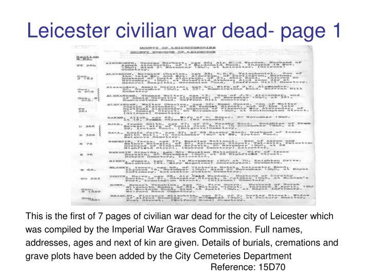 Leicester civilian war dead- page 1