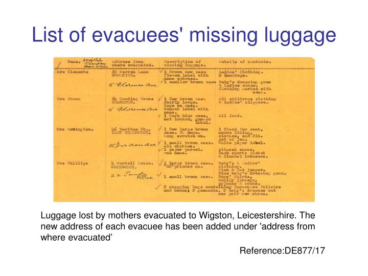 List of evacuees' missing luggage