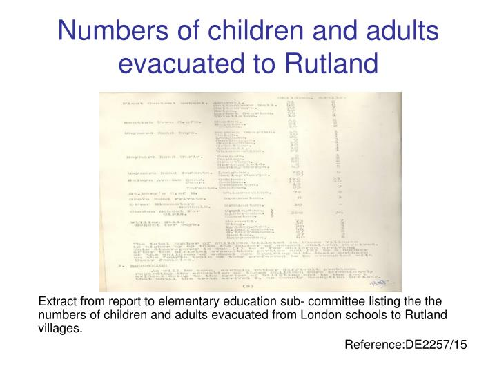Numbers of children and adults evacuated to Rutland
