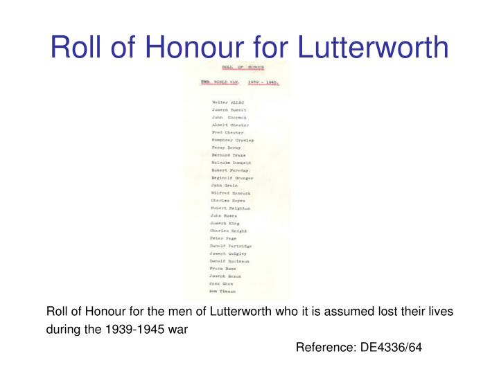 Roll of Honour for Lutterworth