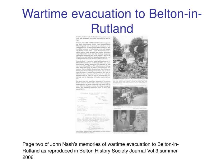 Wartime evacuation to Belton-in-Rutland