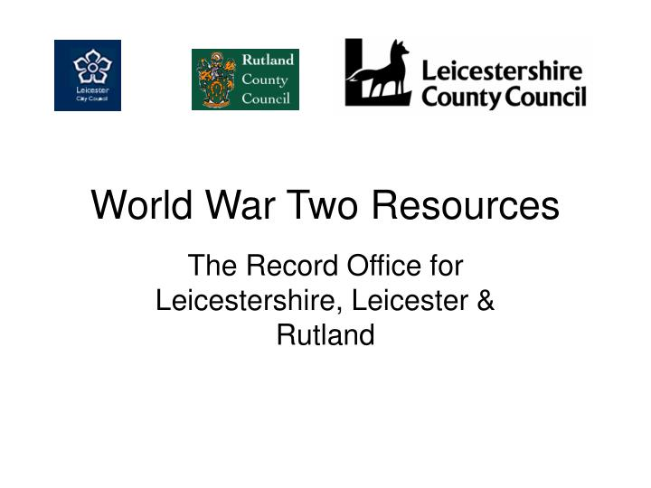 World War Two Resources