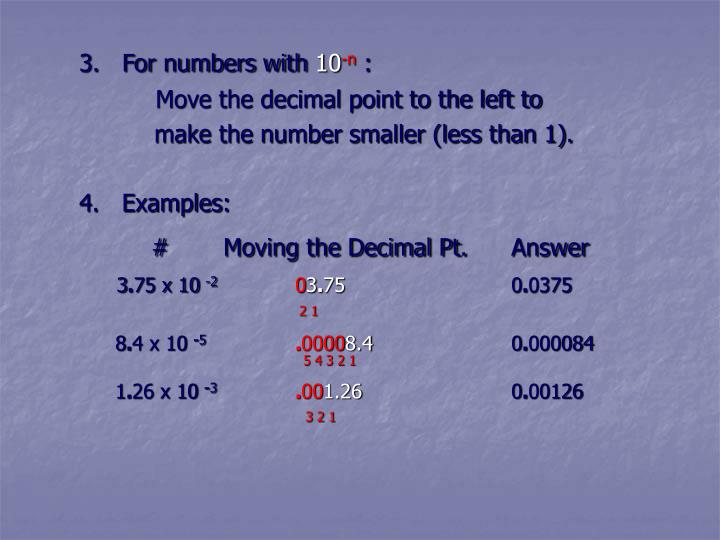 3.   For numbers with