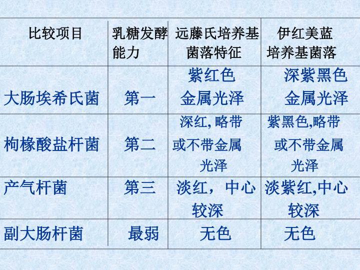 比较项目        乳糖发酵  远藤氏培养基     伊红美蓝