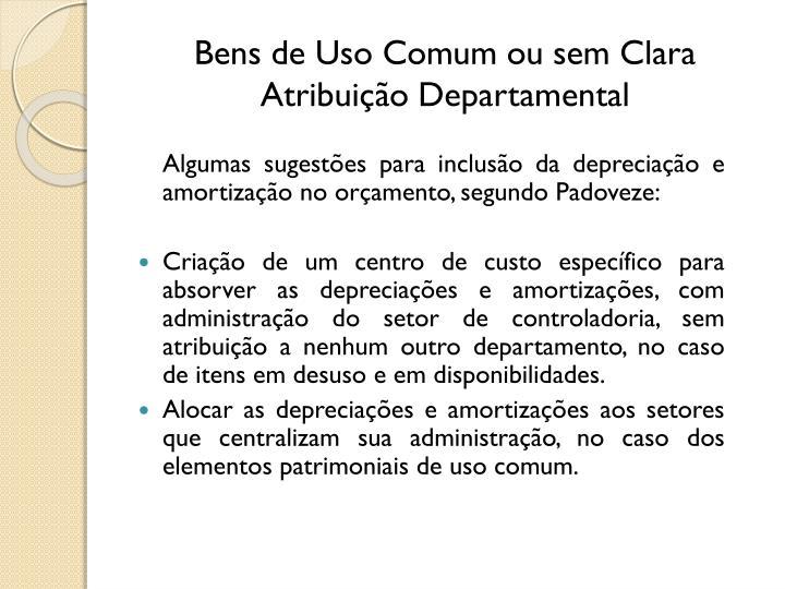 Bens de Uso Comum ou sem Clara Atribuição Departamental