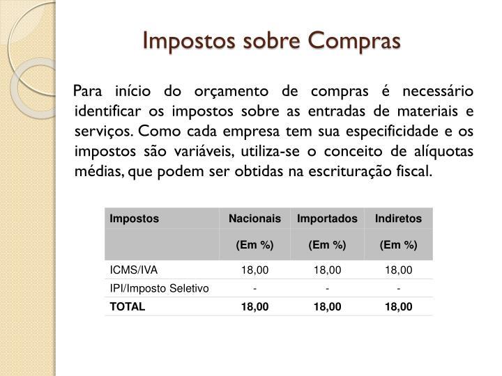 Impostos sobre Compras