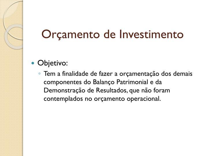 Orçamento de Investimento