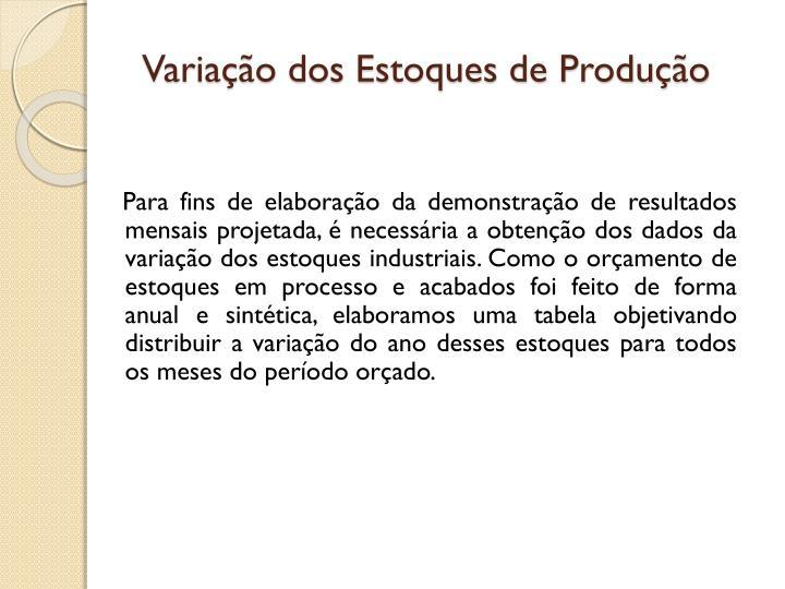 Variação dos Estoques de Produção