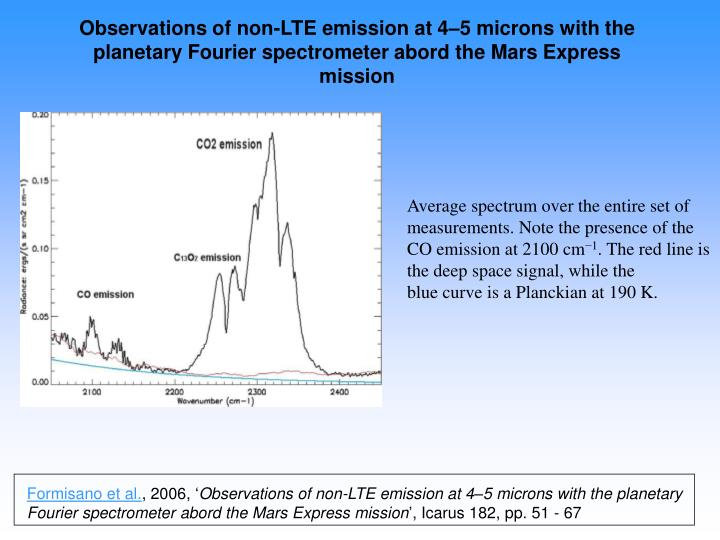 Observations of non-LTE emission at 4–5 microns with the planetary Fourier spectrometer abord the Mars Express mission
