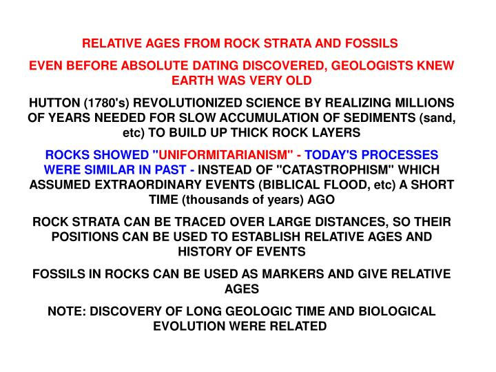 RELATIVE AGES FROM ROCK STRATA AND FOSSILS