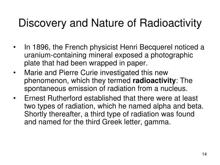 Discovery and Nature of Radioactivity