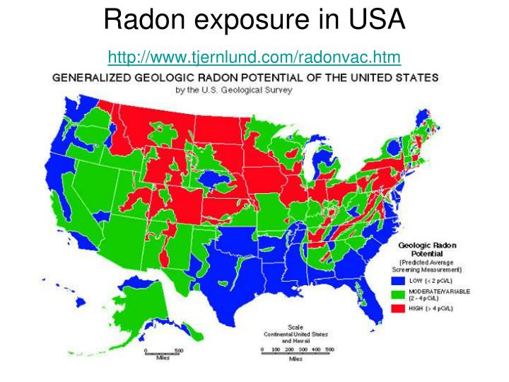 Radon exposure in USA