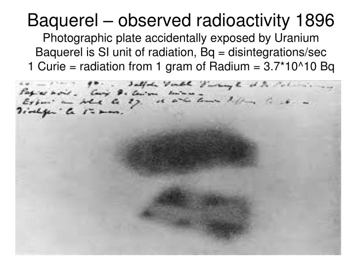 Baquerel – observed radioactivity 1896