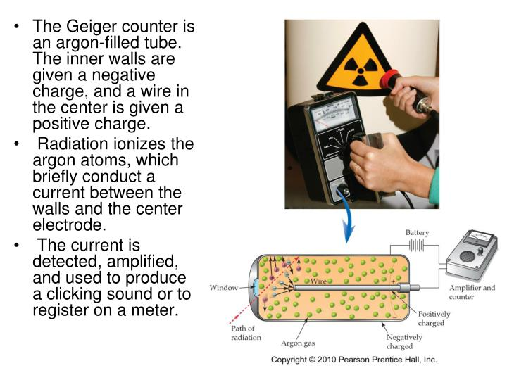 The Geiger counter is an argon-filled tube. The inner walls are given a negative charge, and a wire in the center is given a positive charge.